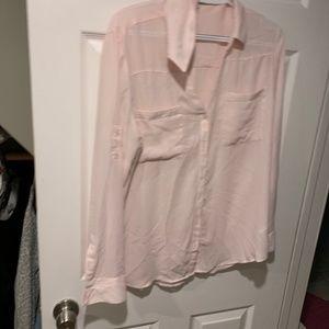 Express portofino shirt. Pink satin material
